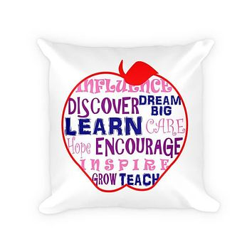 Teachers Influence Apple Word Collage Cotton Poly Pillow