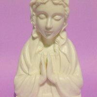 Vintage 50s Religious Mary Figurine Ceramic Light Collectibles Home Decor For Her Women Gift Jesus