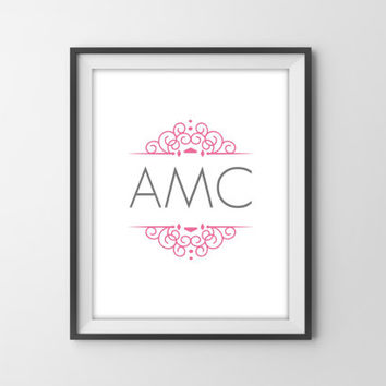 Personalized Monogram Art Print - Pink Nursery Decor - Girl's Nursery, Bedroom - Dorm Room Decor - Graduation Gift - Girly Victorian