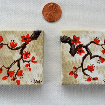 Tiny art, Miniature, Red Cherry Blossoms, Miniature Original Oil Painting, Dollhouse Art, American Girl Doll, 2""