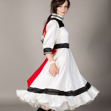 Bioshock infinite Elizabeh white cosplay wedding  retro  dress