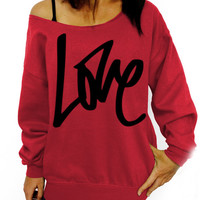 Red LOVE Graphic Sweatshirt