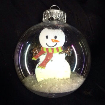 Snowman Snow Globe Ornament by langanfamilyfinds on Etsy