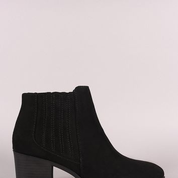 Qupid Suede Almond Toe Elastic Chunky Heeled Booties