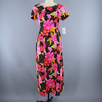 Vintage 1960s Hawaiian Maxi Dress / Black & Pink Floral Print