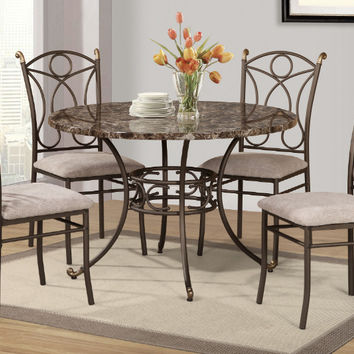 "Poundex F2440-1717 5 pc calisto II faux marble top 45"" round dining table set"