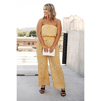 Show Them Up Strapless Jumpsuit (Yellow Combo)