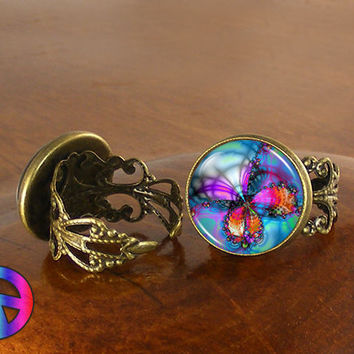 Colorful Butterfly Nature Dragonfly Womens Adjustable Ring Rings Jewelry Gift