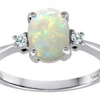 Tommaso Design Genuine 8x6mm Oval Opal 3 stone Engagement Ring 14k Size 8