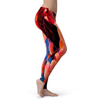 Liquid Abstract Paint V30 - All Over Print Womens Leggings / Yoga or Workout Pants