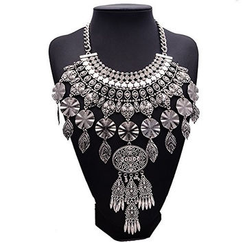 Girl Era Womens Modern Fine Metal Leaves Combination Long Chunky Choker Charm Necklace
