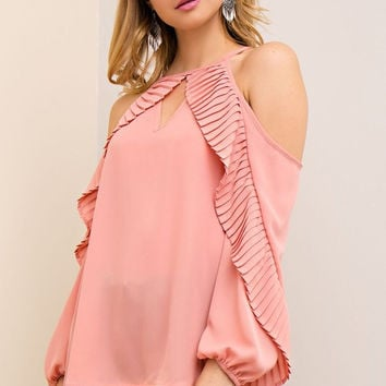 Living the Dream Ruffle Top - Dusty Rose