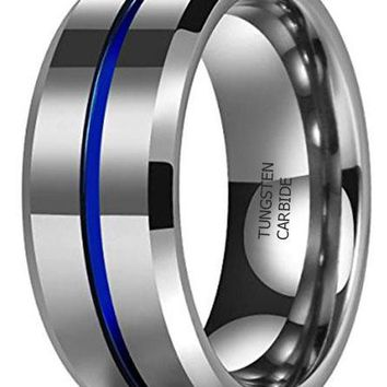 CERTIFIED 8MM Thin Blue Groove High Polish Tungsten Carbide Wedding Band