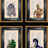 Sci-Fi Star Wars and Star Trek Art - 4 Dictionary Prints - Vintage Dictionary Page Art Prints Upcycled Book Page Art Collage Prints