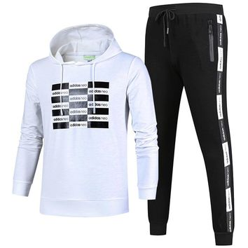 ADIDAS autumn and winter new round neck pullover plus velvet running trousers sports two-piece white