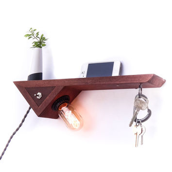 Catch All Floating Shelf with Edison Lamp