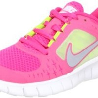 Nike Free Run 3 (GS) Big Kids Running Shoes Spark/Reflective Silver-White-Volt 512098-600, 5.5