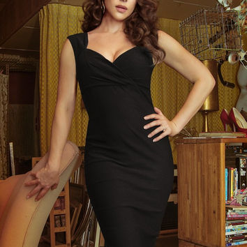 Pinup Couture Erin Wiggle Dress in Black