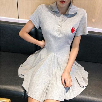 Harajuku sweet women POLO mini dresses elegant Summer 2018 New girl heart embroidery pink Japanese plus size dress female