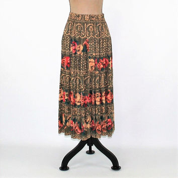 80s Hippie Boho Skirt Women Medium Petite Full Skirt Floral Skirt Rayon Grunge Skirt Size 8 Carole Little Vintage Clothing Womens Clothing