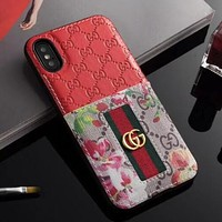 GUCCI Fashion Personalit Red Flower Stripe Mobile Phone Case iphone 6 6plus iphone 7 7plus iphone 8 8plus iphone X Phone Shell I12483-1