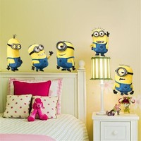 % minions movie wall sticker for kids room home decorations diy pvc cartoon decals children gift 3d mural arts posters wallpaper