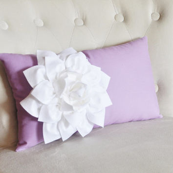Baby Nursery Decor Lilac Lumbar Pillow. White Dahila on Lilac Lumbar Pillow 9 x 16