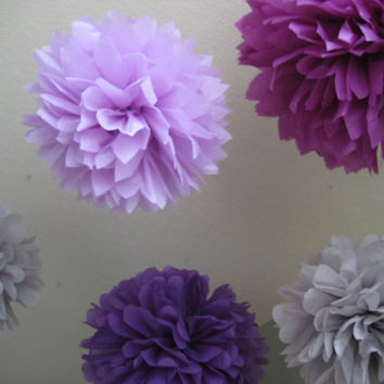 15 medium Tissue Paper Pom Poms - Custom Aisle Decoration - Wedding DIY Kit - Purple Gray - Pastels