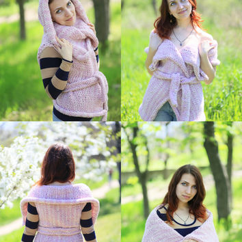 Knit Light Pink Long Sweater Vest Transformer Maxi Bulky Hood & Shawl Collar Option Vest Sleeveless Long Womens Waistcoat gift idea for her