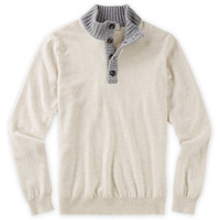 Italian Merino and Cashmere Button-Mock Sweater