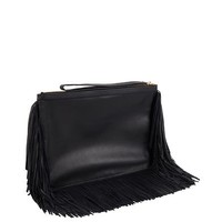 Leather fringed wristlet pouch