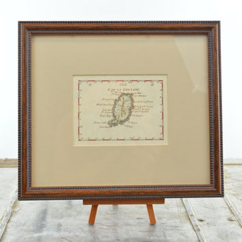 Hand Colored Map of Island of Grenada Framed Cartouche Title Reproduction