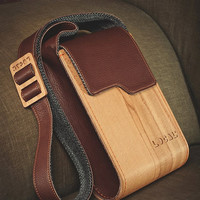 Wood and genuine leather Ipad bag/ Handmade Crossbody IPad Bag