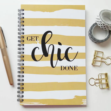 Writing journal, spiral notebook, sketchbook, bullet journal, black and gold, to do list, blank lined or grid paper - Get Chic Done