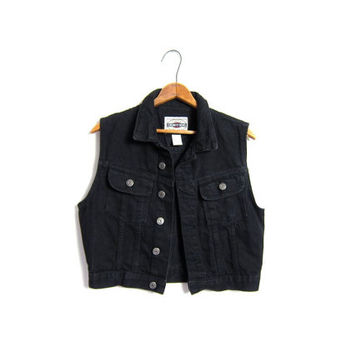 Black Jean Vest Cropped Denim Sleeveless from Dirty Birdies