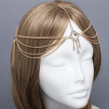 SALE~! Bohemian Gold Evil Eye Head Chain Headpiece, Grecian headchain, House Of Harlow Style Gypsy head jewelry, Wedding Haadchain