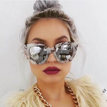 Unisex Round Thick Marble Sunglasses Vintage Keyhole Revo Mirror Glasses