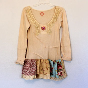 Free People Upcycled Women's Boho Earthy Shirt / Junior's Eco Clothing