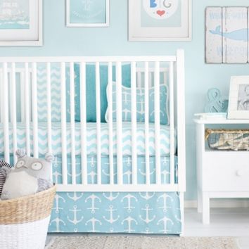New Arrivals Anchors Away in Aqua Baby Bedding