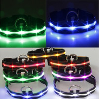 LED Black Nylon Pet Dog Cat Collar Night Safety Punctate LED Light-up Flashing Glow in the Dark Lighted Dog Collars