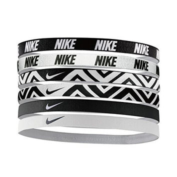 Nike Printed Headbands Assorted 6pk (One Size Fits Most, Black/White)