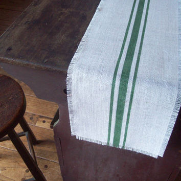 Burlap Table Runner with Hand Painted Grain Sack Style Dark Green Stripes 10 x 48 / Other Colors Available