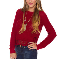 Gianna Lace Sweater - Burgundy