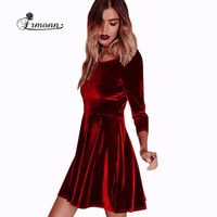 6 Colours 2016 Women Autnmn &  Winter Cute Loose Solid Three Quarter Sleeve Velvet Above Knee Mini Women Winter Party Dresses