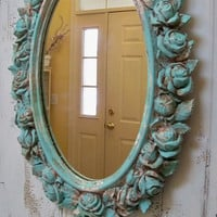 Large ornate framed wall mirror distressed chippy painted sea glass vintage shabby chic piece Anita Spero