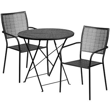 30'' Round Indoor-Outdoor Steel Folding Patio Table Set with 2 Square Back Chairs
