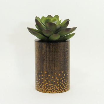 Round Wood Succulent Planter Pot, Modern Plant Holder, Indoor Garden Planter, Cacti Planter, Office Planter, Home Decor, Gold Polka Dots