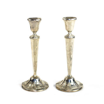 Art Deco Silver Plated Candlestick Pair - Gorgeous Shiny Chrome Style Finish, Aged Patina - Regal Candle Holder Set - Vintage Home Decor