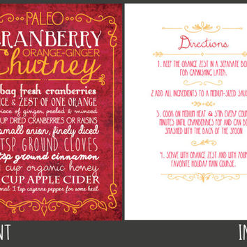 Paleo Recipe Thanksgiving Holiday Card - Cranberry Sauce Chutney - Printable Print Your Own Digital PDF Healthy Recipe Greeting Card
