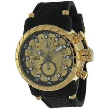 Invicta 14186 Men's S1 Rally Gold Tone Dial Gold Plated Steel Black Rubber Strap Chronograph Watch